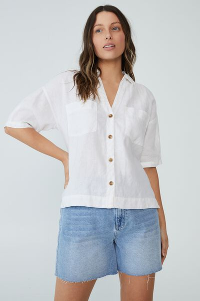Linen Relaxed Ss Shirt, WARM WHITE