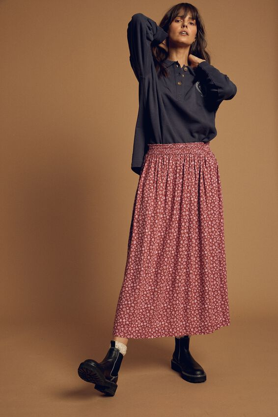Fleur Midi Skirt, CLAY/PINK DITSY FLORAL