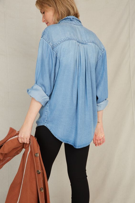 Harvest Ruffle Shirt, MID BLUE