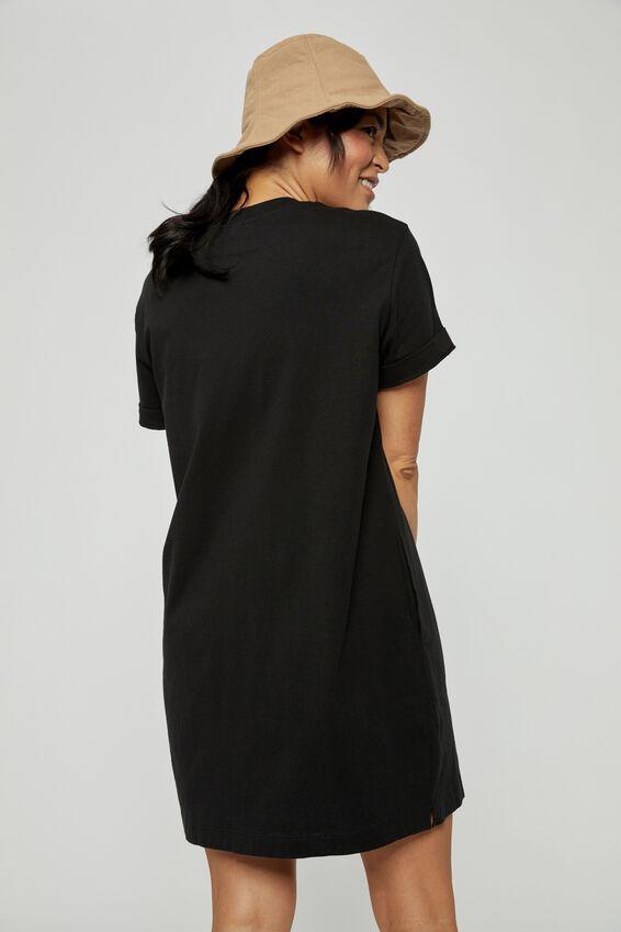 Organic Short Daily Tee Dress, BLACK