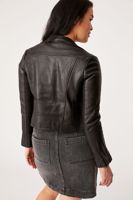 Museum Clothing Leather Austin Jacket, BLACK