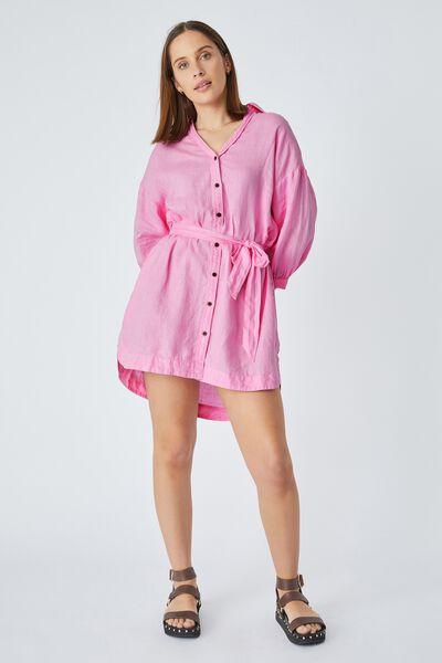 Linen Shirt Dress, SUMMER PINK