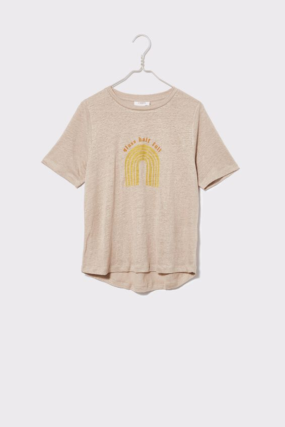 Linen Graphic Weekend Tee, PEBBLE/GLASS HALF FULL