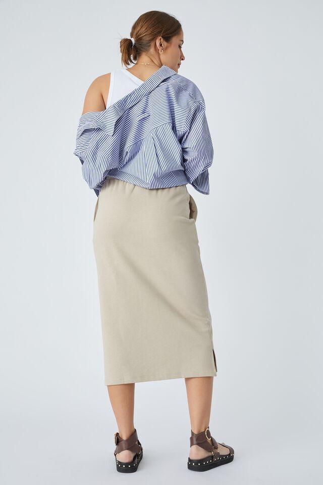 Organic Midi Tube Skirt In Organic Cotton, PEBBLE