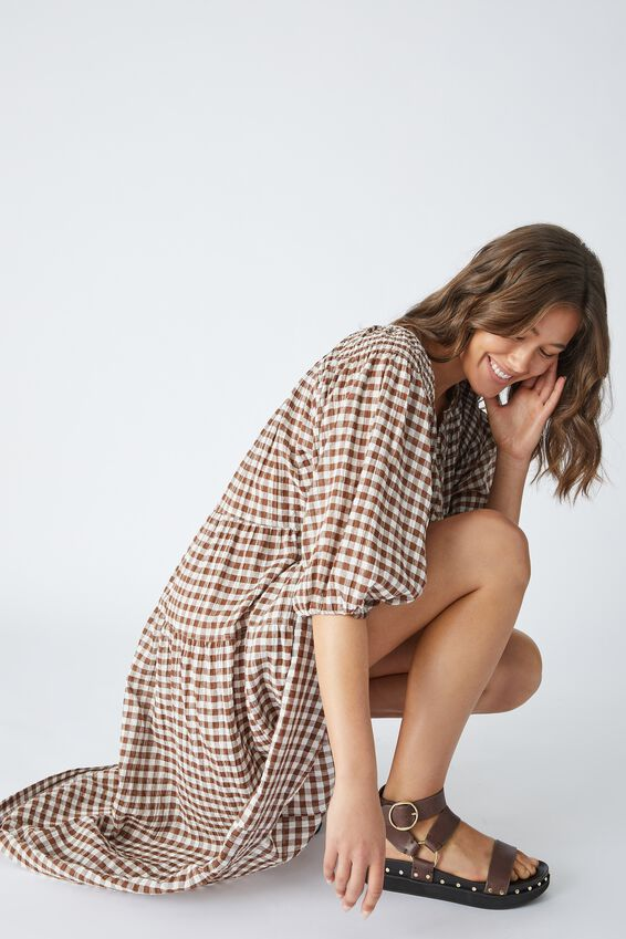 Shirred Puff Sleeve Midi Dress In Organic Gingham, WHITE AND BISON GINGHAM CHECK