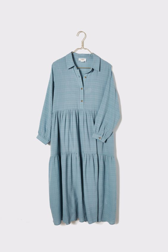 Tiered Shirt Dress With Slip, WINTER BLUE