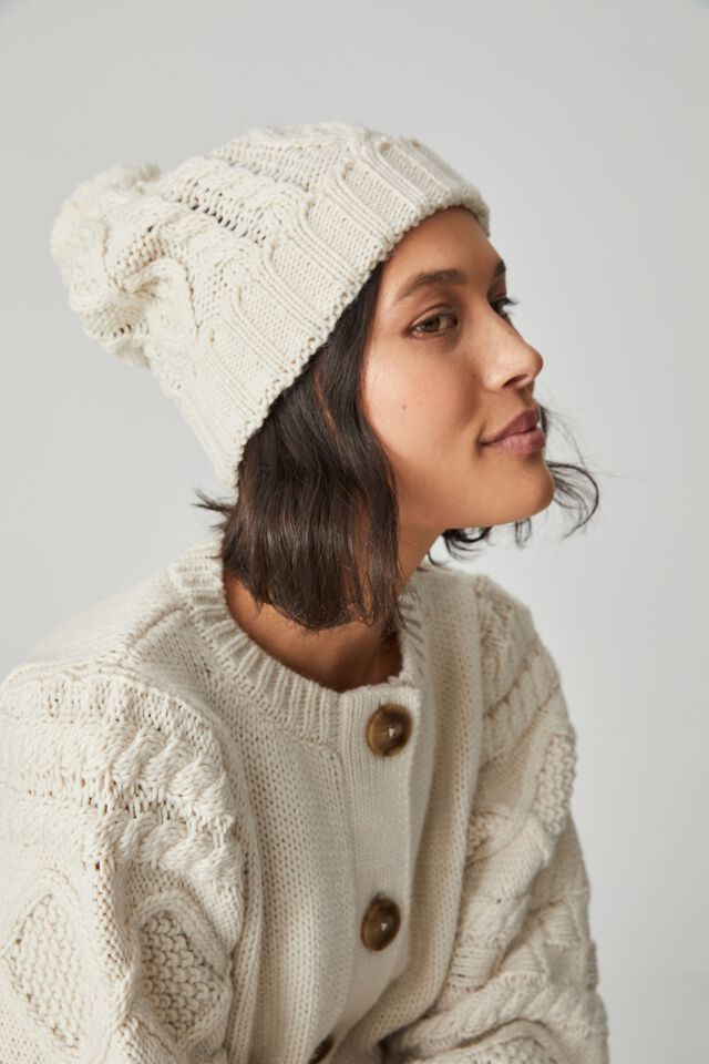 Cable Knit Beanie, LIGHT STONE