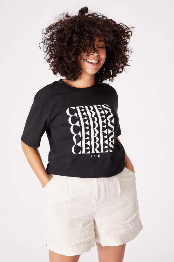 The Organic Daily Print Tee, BLACK CERES CERES CERES