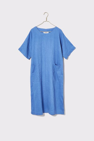 Linen Midi Pocket Dress, COBALT