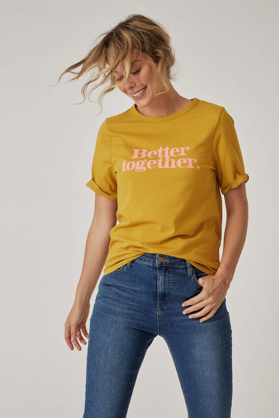 Organic Daily Print Tee, GOLDEN SUN BETTER TOGETHER