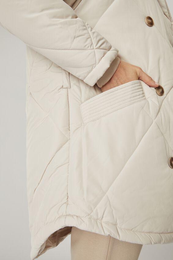 Longline Cocoon Puffer Jacket, STONE