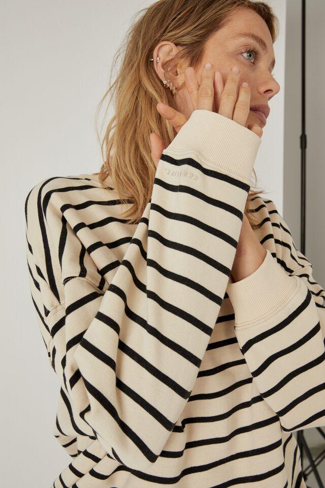 Organic Supersize Sweater, ECRU BLACK STRIPE