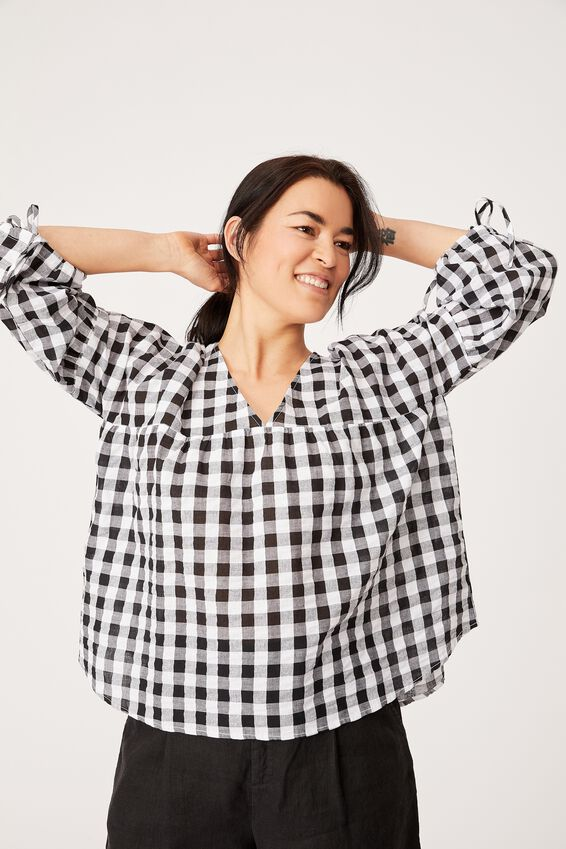 Gingham Smock Top, BLACK & WHITE