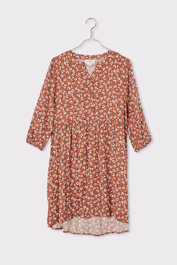 Floral Babydoll Dress, RUST FLORAL