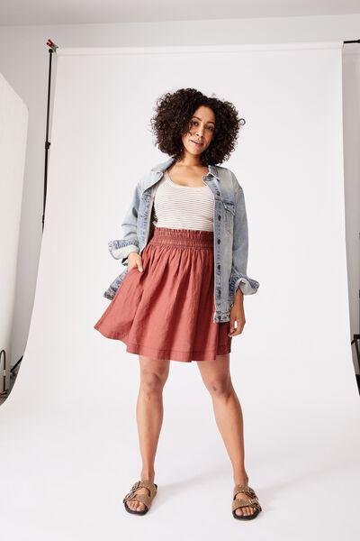 Linen Mini Skirt, RUST