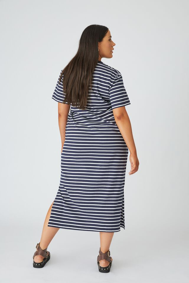 Organic Daily Tee Dress, NAVY/WHITE STRIPE