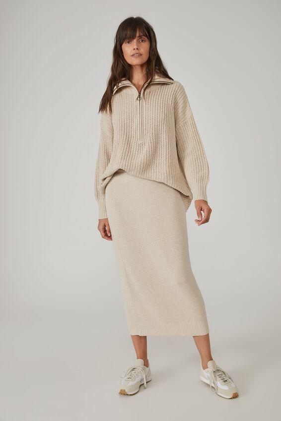 Australian Cotton Knit Midi Skirt, OATMEAL MARLE