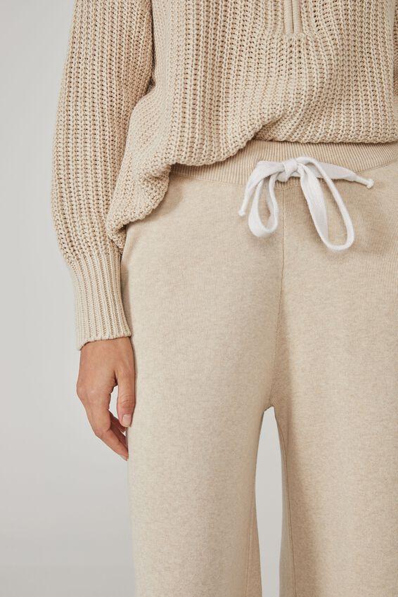 Australian Cotton Wide Leg Knit Pant, OATMEAL MARLE