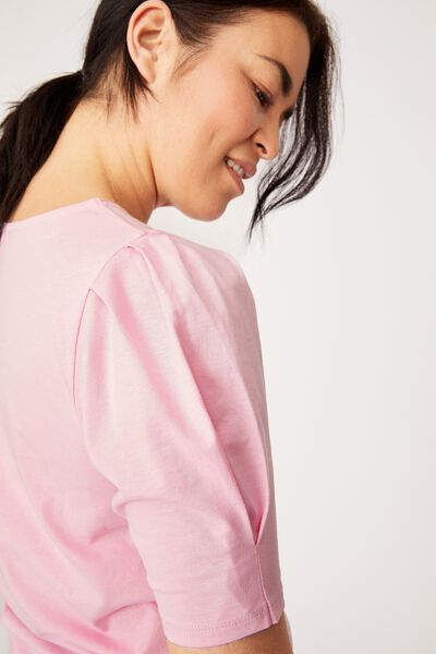 Organic Cotton Puff Sleeve Tee, FAIRY FLOSS