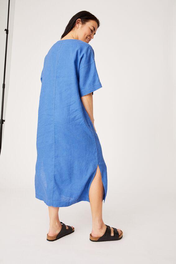 Linen Midi Pocket Dress, COBALT