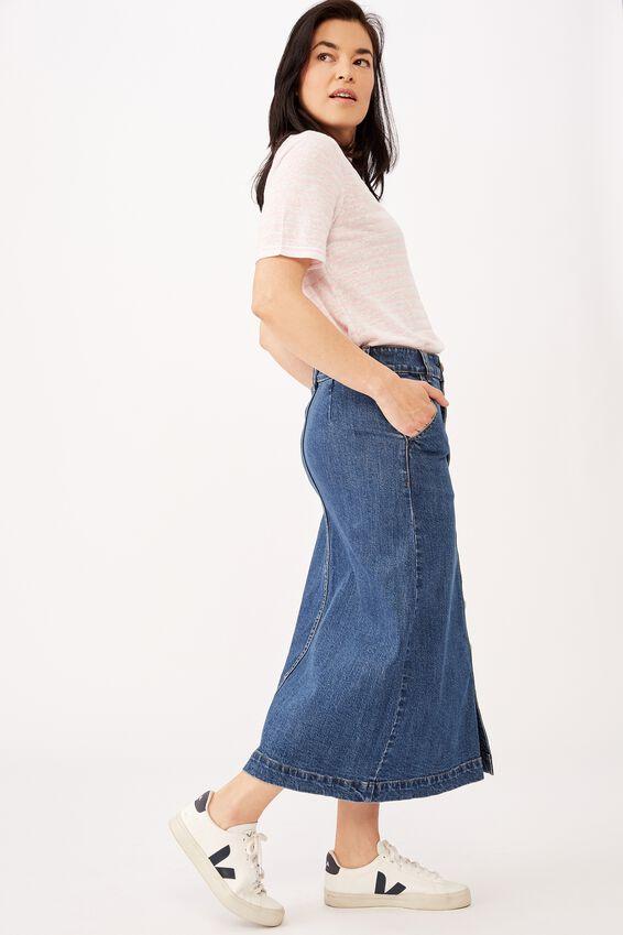 Emma Hawkins Button Through Midi Skirt, INDIGO BLUE