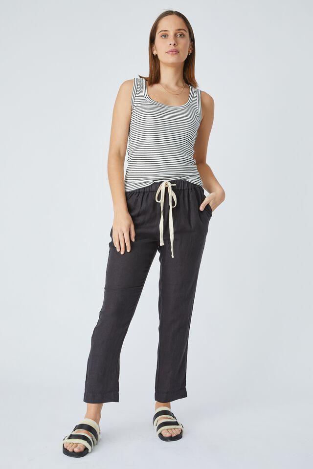 Linen Pant, BLACK