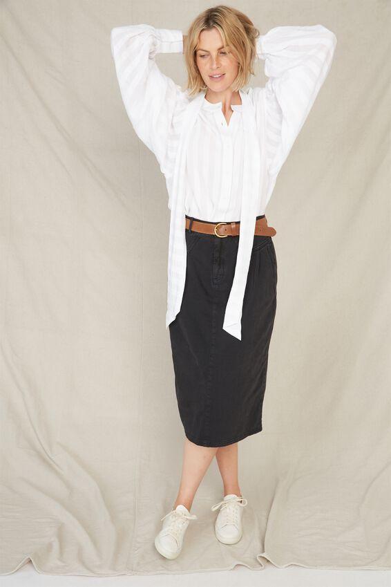 90 S Midi Skirt, BLACK
