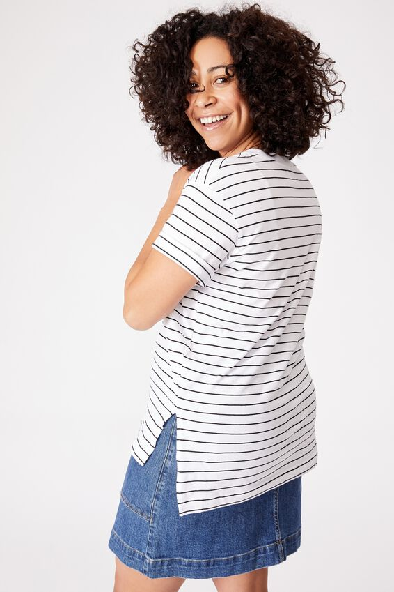 Organic Oversized Daily Printed Step Hem Tee, WHITE BLK STRIPE/BE MERRY