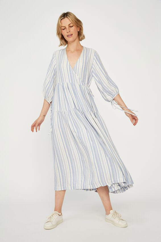 Picnic Wrap Dress, BLUE/WHITE STRIPE