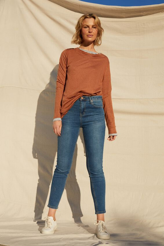Linen Long Sleeve Crew, RUST