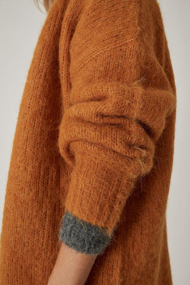 Alpaca Wool Blend Longline Cardi, MUSTARD