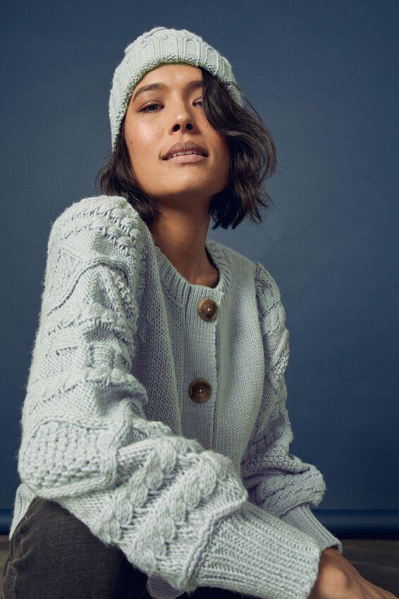 Cable Sleeve Cardigan, BLUE FOG