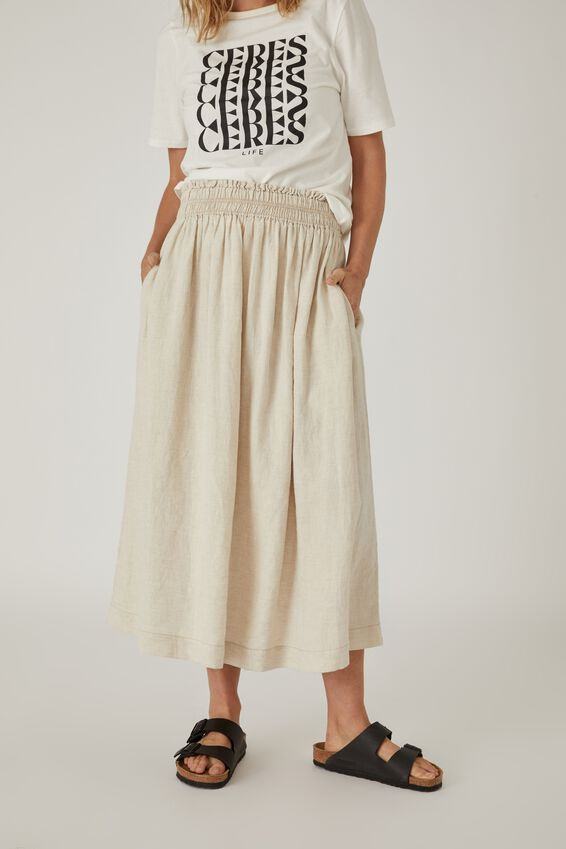 Linen Midi Skirt, PEBBLE