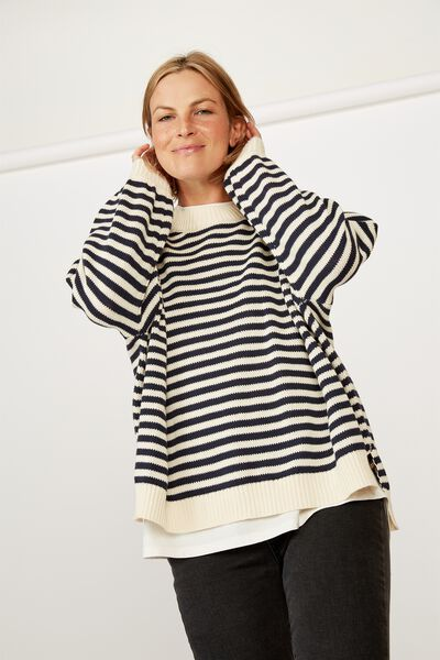 Stripe Split Hem Jumper, NAVY/ECRU STRIPE