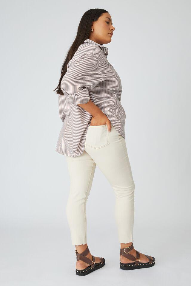 Raw Hem Skinny Leg Jean, ECRU