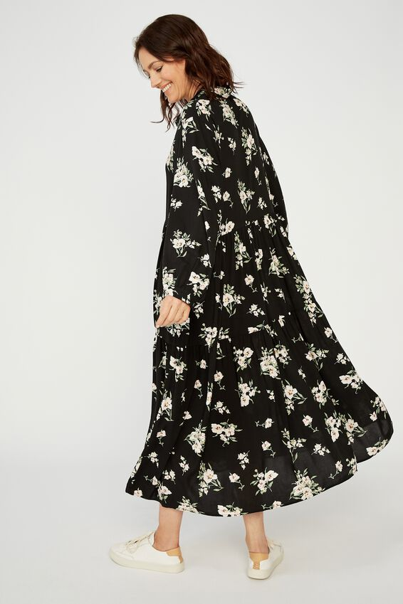 Tiered Shirt Dress, BLACK LARGE FLORAL