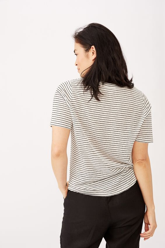 Linen Weekend Tee, WHITE/BLACK STRIPE