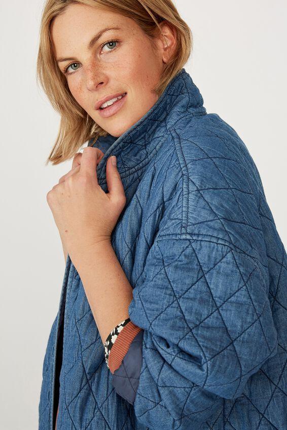 Quilted Kimono Jacket, CHAMBRAY