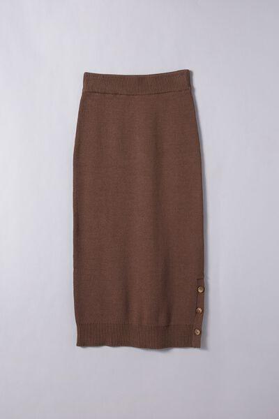 Organic Cotton Knit Midi Skirt, BROWN