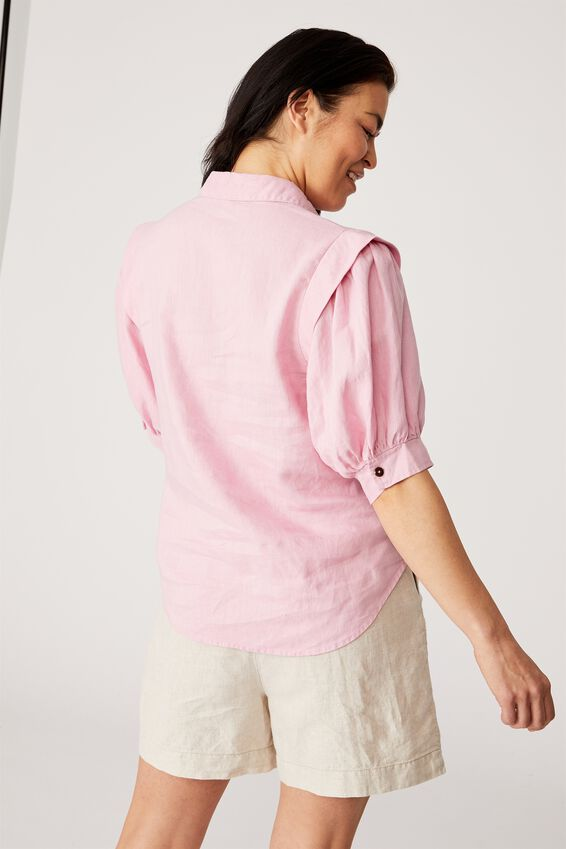 Linen Puff Sleeve Shirt, FAIRY FLOSS PINK