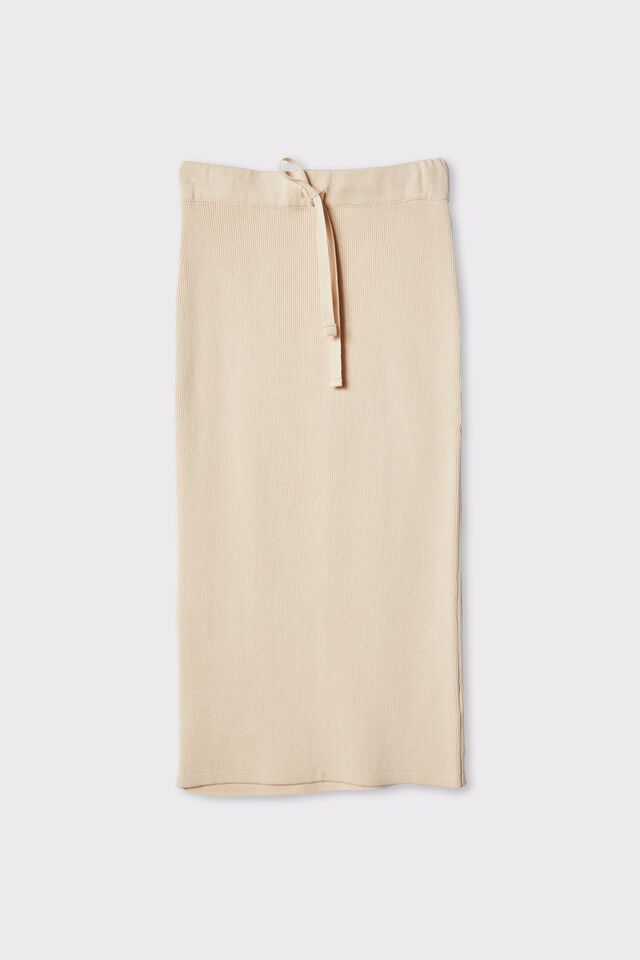 Organic Cotton Knit Skirt, LIGHT CAMEL