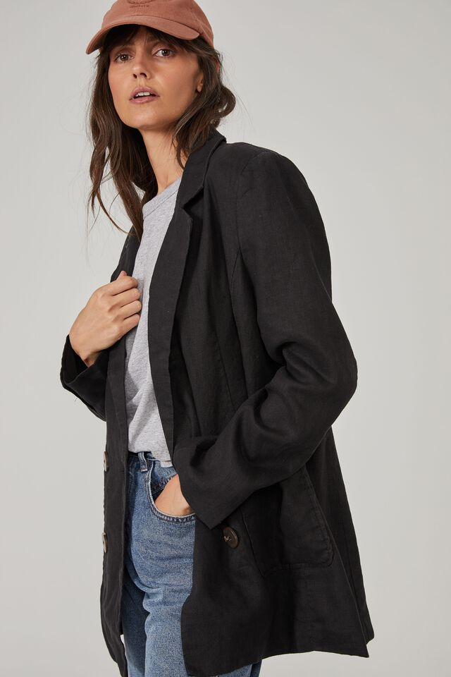 Relaxed Linen Blazer, BLACK