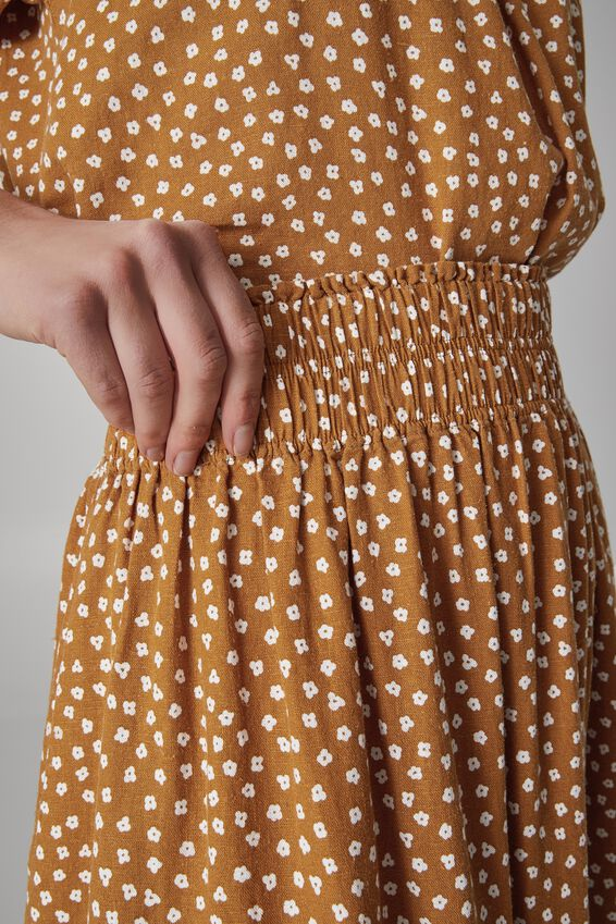 Bijou Midi Skirt, TOBACCO FLORAL