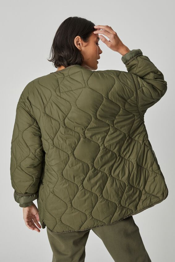 Oversized Quilted Shell, MILITARY KHAKI