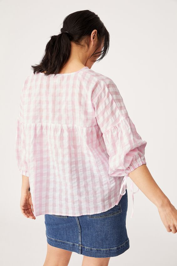 Gingham Smock Top, PINK & WHITE
