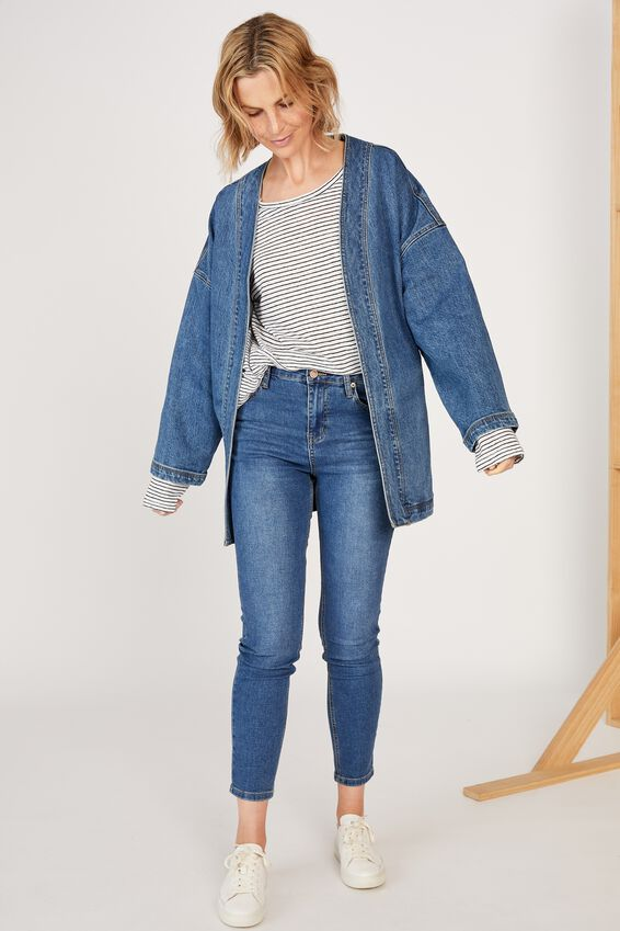 Denim Wrap Jacket, MID INDIGO
