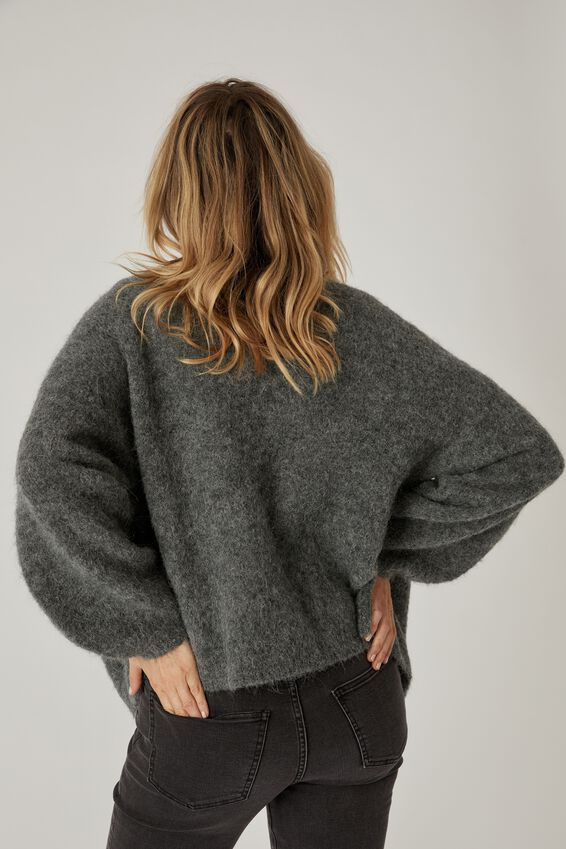 Alpaca Wool Blend Balloon Cardigan, CHARCOAL