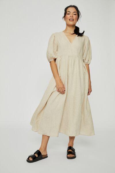 Primrose Linen Wrap Dress, PEBBLE