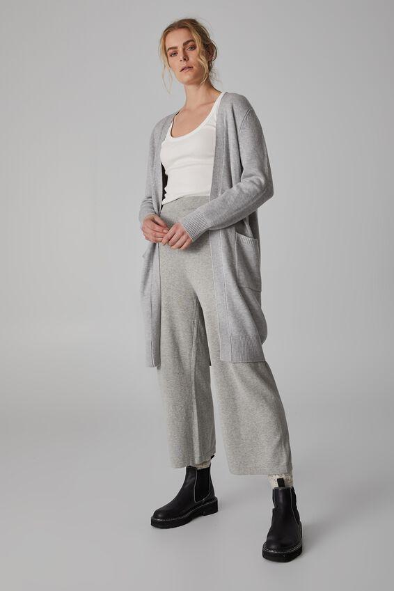 Soft Longline Cardigan, LIGHT GREY MARLE