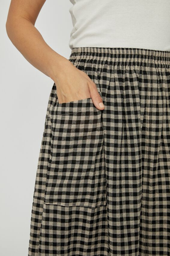 Poppy Pocket Skirt, PEBBLE BLACK CHECK